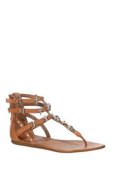 Sandales en cuir clous et strass Odysée