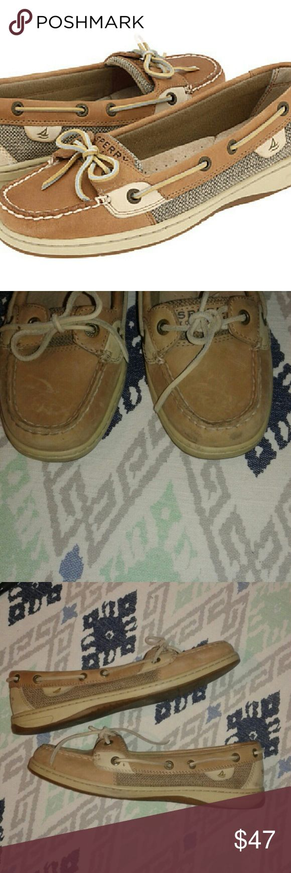 Sperry Top-Sider Angelfish boat shoes Sz 8 Womens. Color is a bit lighter tan than the cover photo. Pics 2-4 are the actual shoes for sale. Excellent used condition with a couple light smudges at toe area. Sperry Top-Sider Shoes Flats & Loafers
