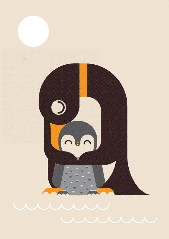 Personalised Retro Penguin and Chick Print, Wall Art, Home Decor