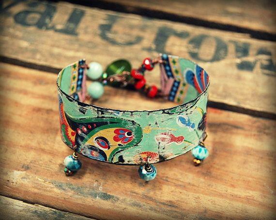 Recycled Tin Bracelet Bohemian Bangle Bracelet by PrimitiveFringe