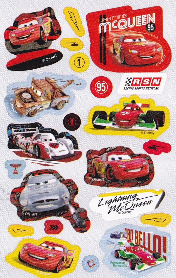 Stickers ark med Disney Cars.