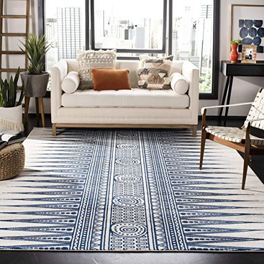 Safavieh Evoke Collection Evk226c Modern Bohemian Area Rug 6 7 Quot X 9 Ivory Blue In 2020 Blue Rug Boho Rug Bohemian Area Rugs