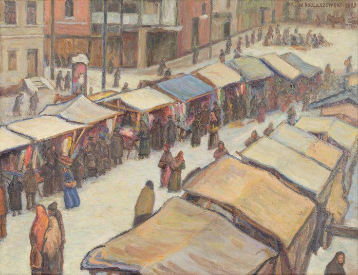 """""""Stragany"""" – późny obraz gnieźnianina Wojciecha Podlaszewskiego (1897–1980), malowany w 1973 r., gdy artysta mieszkał w Sosnowcu. Mimo zimowej aury tonacja kompozycji jest ciepła i choć to olej na płótnie – kojarzy się z efektami, jakie daje użycie pasteli. Ciekawy jest sam """"punkt widzenia"""" malarza: ukazał miejskie targowisko, gromady anonimowych ludzi – w ujęciu sponad straganów, jakby zza kulis."""