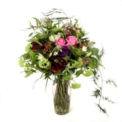 Flower Bouquet in Reds Greens and Whites Hand Tied