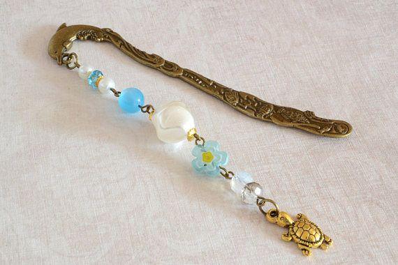 White blue Gold Turtle Bookmark marine style metal decorative