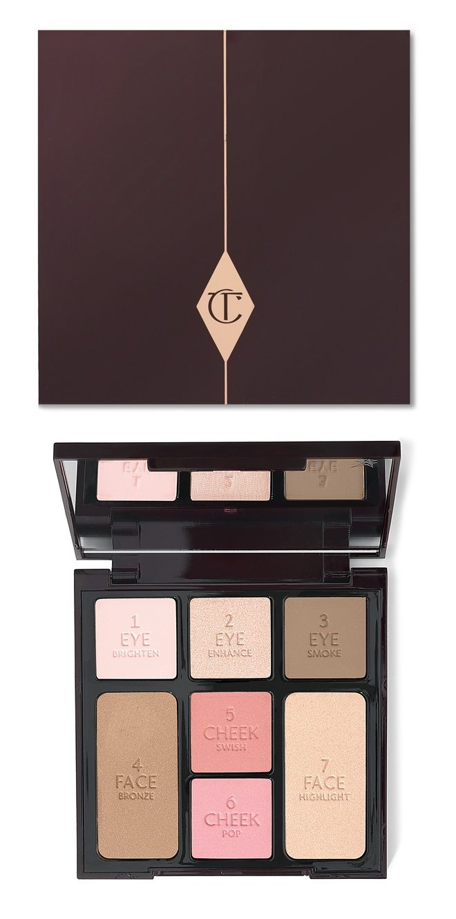Charlotte Tilbury's Instant Look in a Palette - This is a fabulous palette for a 5 minute face on the go - it includes luxurious Eye Brighten, Eye Enhance, and Eye Smoke, Face Bronzer, Cheek Swish and Cheek Pop for a beautiful pigmented glow and Face Highlighter to accentuate the outer cheekbones, inner eye corners, cupid's bow, and bridge of the nose #glam...x