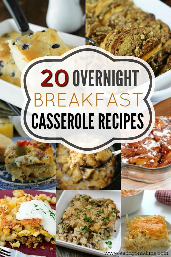 You will love these overnight breakfast casserole recipes. 20 make ahead breakfast casserole recipes to make mornings a breeze. They are so delicious! #breakfast #casserole