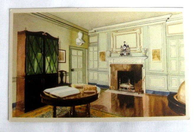 Vintage color postcard that pictures the library at Mount Vernon.  The library contains many of George Washington's books, with his own book plates in