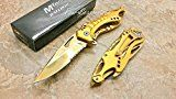 MTech USA Assisted Opening ALL Gold Titanium Coating Aluminum Handle Rescue Tactical Stainless Steel Blade for Hunting Camping Outdoor Knife - Gold