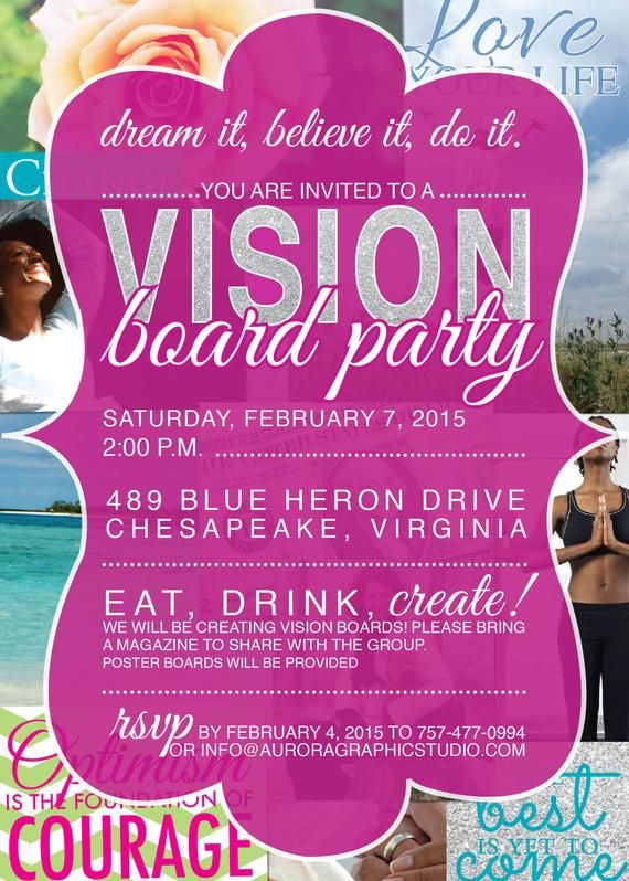 Vision Board Party Invitation Etsy Vision Board Party Vision Board Invitation Vision Board Diy