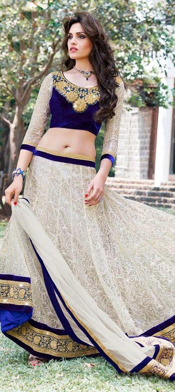 144259, Mehendi & Sangeet Lehenga, Super Net, Resham, Valvet, Patch, Lace, White and Off White Color Family