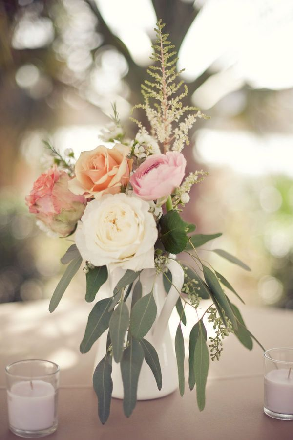 I love the simplicity of this wedding centerpiece. I'd love this on our grey and white chevron table runners.