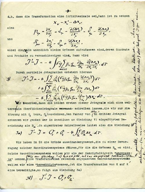 A page from an original manuscript of Albert Einstein's.