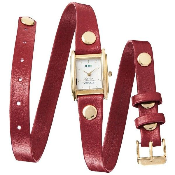 La Mer Triple Wrap Watch - Red ($40) ❤ liked on Polyvore