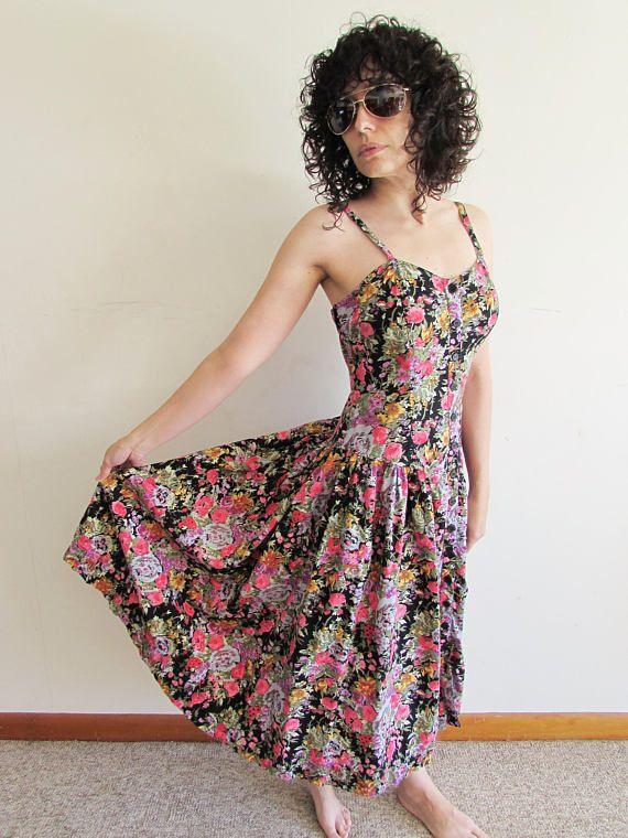 9cdb9face Vintage 80s 90s Floral Drop Waist Full Skirt Valley Girl Midi Dress ...
