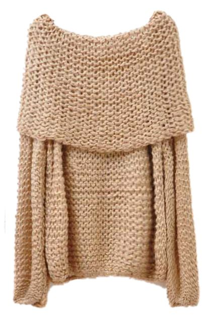 ROMWE | Hollowed Boat Neck Camel Jumper, $21.99