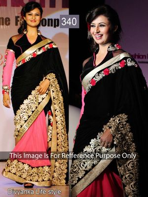 Divyanka Pink And Black Half Half Saree Bollywood Sarees Online on Shimply.com
