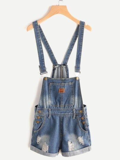 Bleach Wash Distressed Denim Overall Shorts