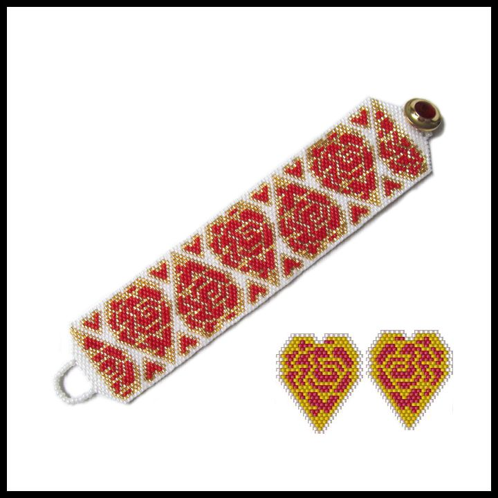 Rose Filled Hearts with Oriental Flair Bracelet & Earrings Pattern | Bead-Patterns.com
