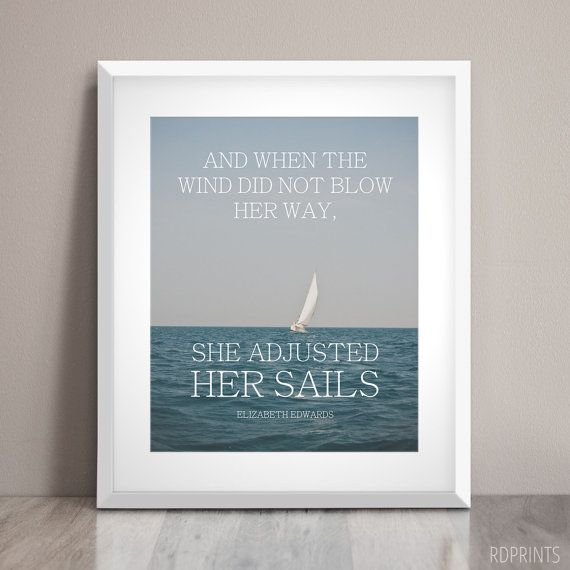 She Adjusted Her Sails  Word Art Print  by HelloHarmonyStudio
