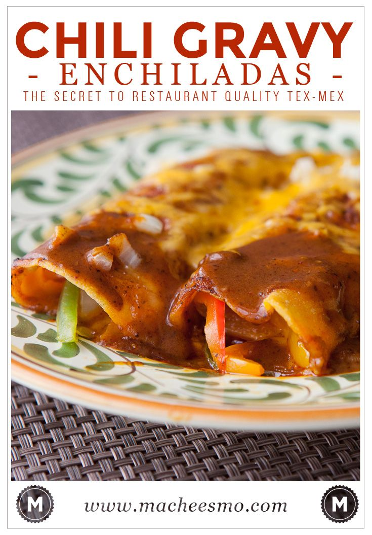 Chili gravy enchiladas is the secret to restaurant quality enchiladas! I keep it simple with peppers and gooey cheese!