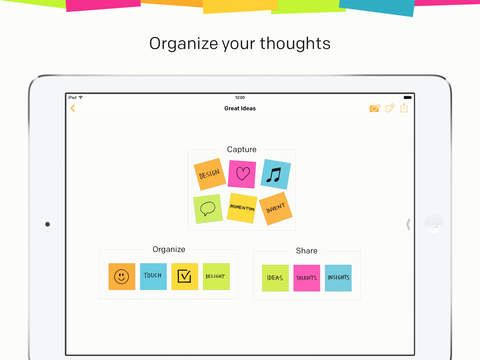 Post-it® Plus by 3M Company.  Organize post-it thoughts by category.  Useful when working on group project to brainstorm ideas.
