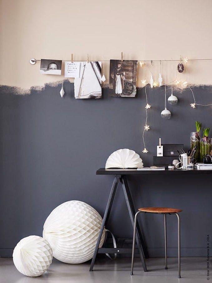 Tolle Idee zu Streichen! #KOLORAT #Grau #Apricot #Wandgestaltung