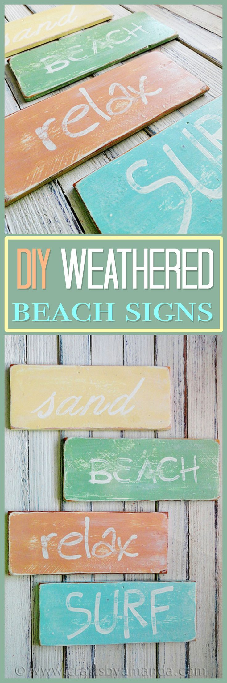 Bring a little of that beach feeling into your home by making some rustic looking beach signs! Ideal for bathroom decor or any part of your home that boasts that beautiful coastal decor look!