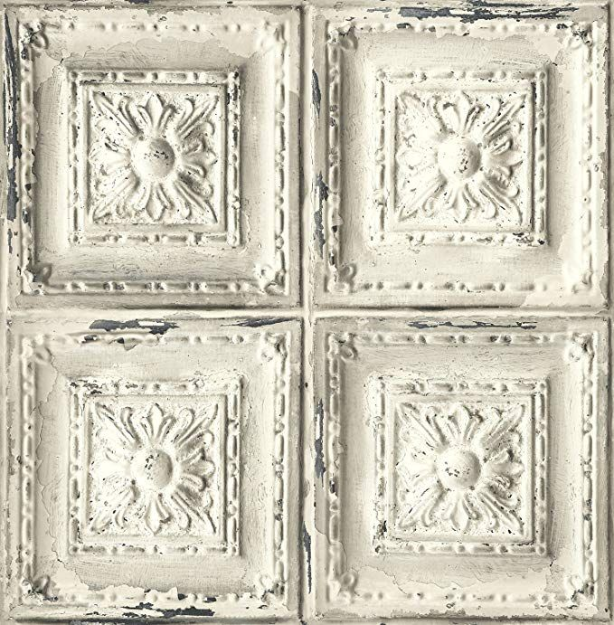 Distressed Ceiling Tile Wallpaper White Grey Avec Images Plafond Gris Papier Peint Papier Peint Vinyle