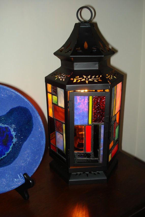 Stained Glass Lantern from a Stagecoach Design by ehamiltonglass