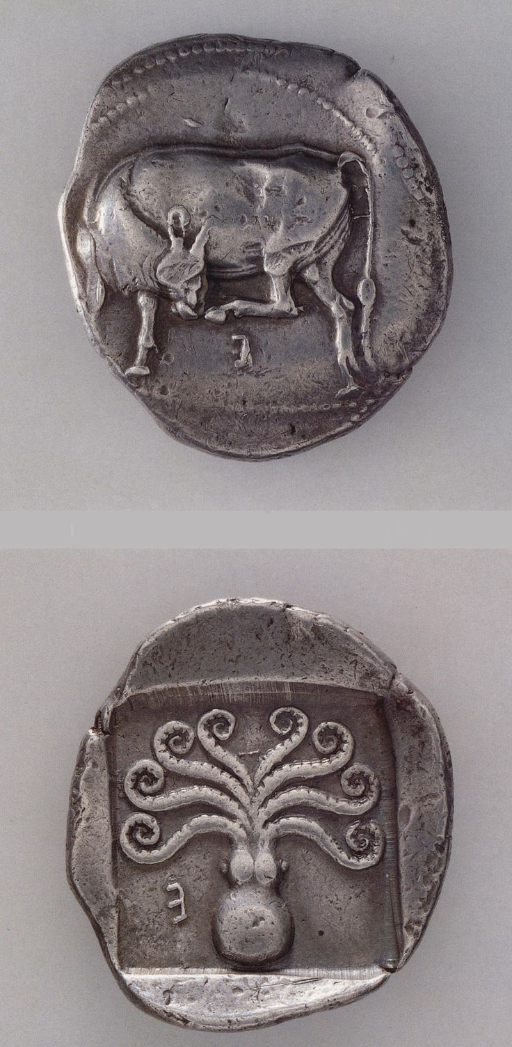 The isle of Euboea was a trading force in Greece. It began minting in the early 6th C. BCE. Their first coins were stamped on one side only with the anvil die as is this cow in high relief on the front of this Stater from Eretria ca. 550-480 BCE. On the reverse is a stylized squid, the square around it is an impression left by a'punch die.' The cow and squid are common emblems from Eretria