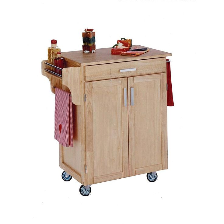 Home Marketplace Small Kitchen Cart - Natural with Wood Top