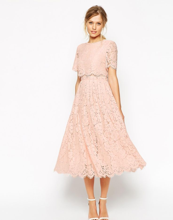Image 1 of ASOS SALON Lace Crop Top Midi Prom Dress