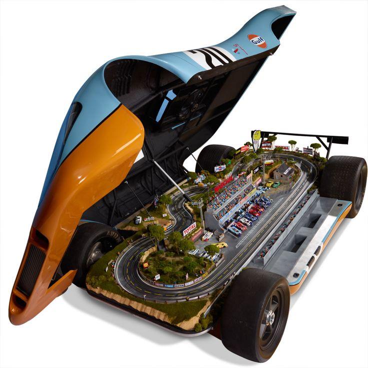 For Le Mans who has everything: full-size Porsche 917 Le Mans Replica hides 1:32 scale Raceway. From Hammacher Schlemmer $125,000 #GulfRacing #LeMans #Porsche