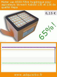 Mister vac A503 Filtre hygiénique pour aspirateurs Vorwerk Kobold 135 et 136 de qualité Hepa (Cuisine). Réduction de 65%! Prix actuel 6,15 €, l'ancien prix était de 17,35 €. https://www.adquisitio.fr/mister-vac/a503-filtre-hygi%C3%A9nique