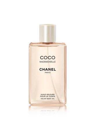 CHANEL COCO MADEMOISELLE Velvet Body Oil $57.00 Velvety oil perfumed with the feminine and sexy, young and exciting scent contains emollients, moisturizers and conditioners, for a pampering treatment that softens, hydrates, soothes and scents.