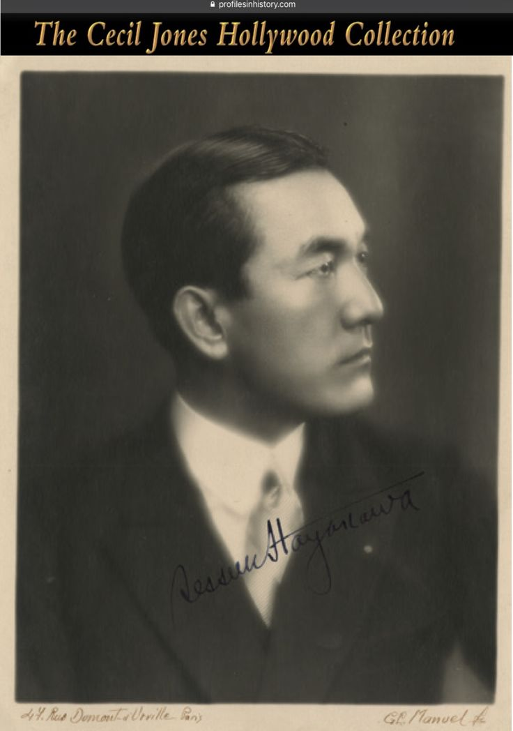 """Sessue Hayakawa - Signed photograph by G. L. Manuel. (ca. 1920s) Vintage original gelatin silver double-weight matte headshot by G. L. Manuel, signed, """"Sessue Hayakawa"""" and also signed by the photographer on the border, """"G. L. Manuel"""". NOTE: Sessue Hayakawa was one of the biggest stars in Hollywood during the silent era of the 1910s and 1920s and was best known as the Japanese commandant in the classic 1957 movie """"The Bridge on the River Kwai""""."""