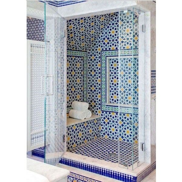 Blue Moroccan Mosaic Tile Bathroom in Cape Cod ❤ liked on Polyvore featuring home, bed & bath, bath, bath accessories, blue mosaic bathroom accessories, mosaic bathroom accessories, blue bathroom accessories, blue bath accessories and moroccan bathroom accessories