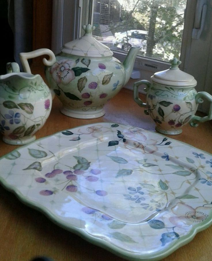 NWT Tracy Porter Teapot Set Evelyn Collection 6 PC Teapot, Sugar, Creamer, Tray  #TracyPorter