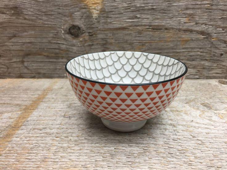 Petit bol gris et orange - triangles