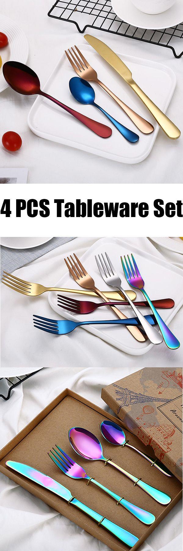 US$6 -4 Pcs/Set Dinnerware Set Kitchen Food Tableware Colorful Western Steak Fork Spoon#newchic#kitchen
