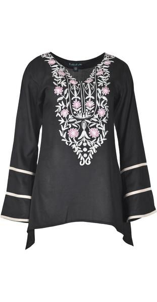 Ladies reyon flex long sleeve tops with aari neck design.