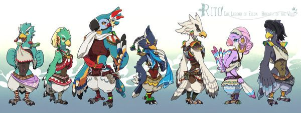 The Rito, from left to right, Fyson, Amali, Kass, Revali, Teba, Saki, and Harth.
