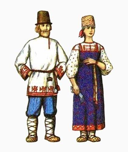 Традиционный мужской и женский костюм. Архангельская губерния.