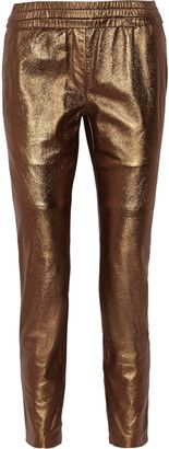 Isabel Marant Becka metallic leather straight-leg pants - Shop for women's Pants - Bronze Pants