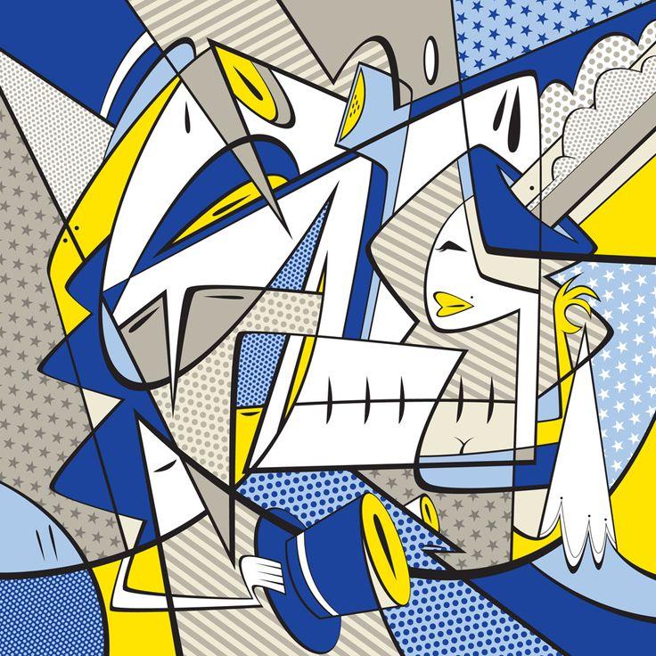 Aqualoopa /Igor Chołda/, Duel, 2014, druk cyfrowy, płótno, 100x100 cm.