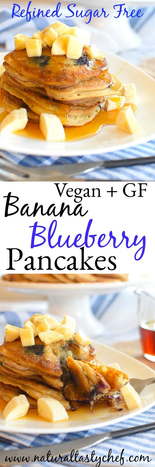 Vegan and Gluten Free Banana, Blueberry Pancakes.  No Refined Sugar.  Gluten Free, Dairy Free, Soy Free, Nut Free, #glutenfree, #vegan, #soyfree, #dairyfree
