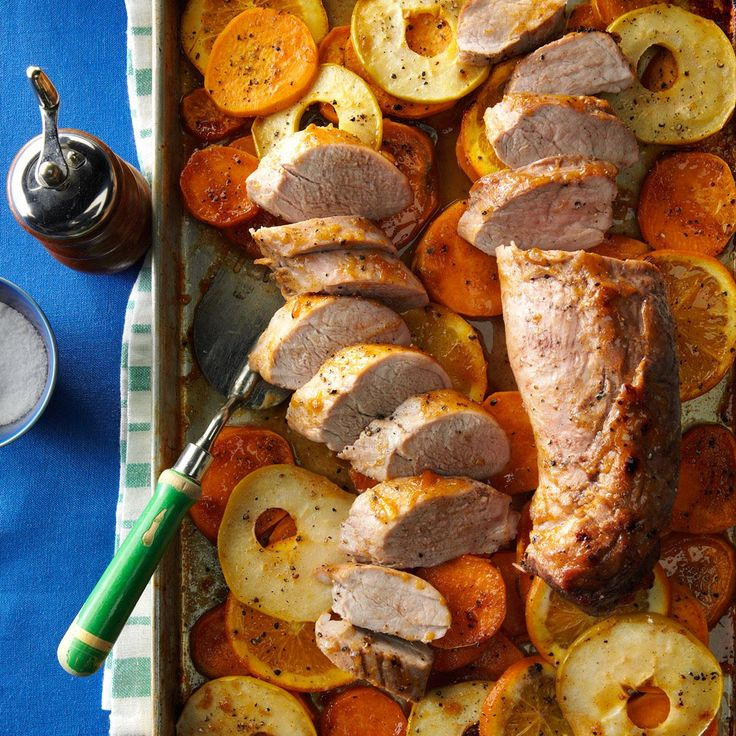 Orange-Glazed Pork with Sweet Potatoes Recipe -When it's chilly outside, I like to roast pork tenderloin with sweet potatoes, apples and an orange. The sweetness and spices make any evening cozy. —Danielle Boyles, Sparta, Wisconsin
