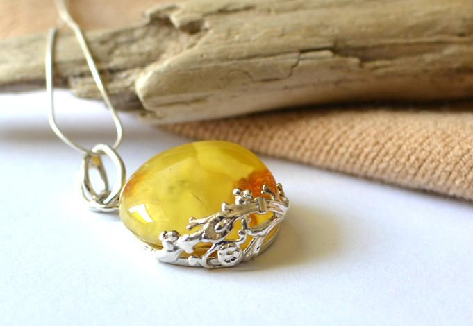 Baltic Amber Pendant, natural Amber Necklace, Amber Jewelry, Gemstone Amber gift, floral silver pattern, untreated amber by KARUBA on Etsy