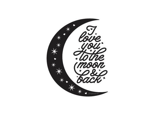Nursery Wall Decal, I love you to the moon and back, vinyl wall saying for baby room, vinyl stickers for newborn bedroom wall, moon and star